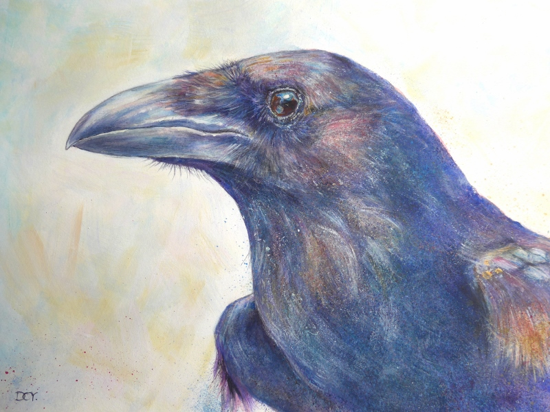 Painting of a Raven's Head by artist Diane Young