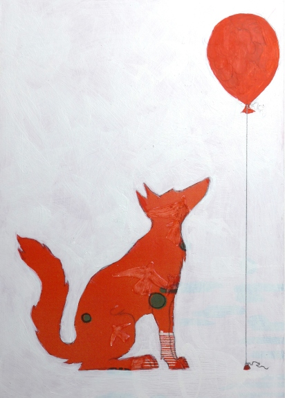 Fox painting profile with abstract background by artist Diane Young