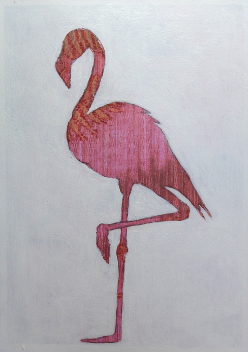 Painting in profile of a flamingo with abstract detail by artist Diane Young