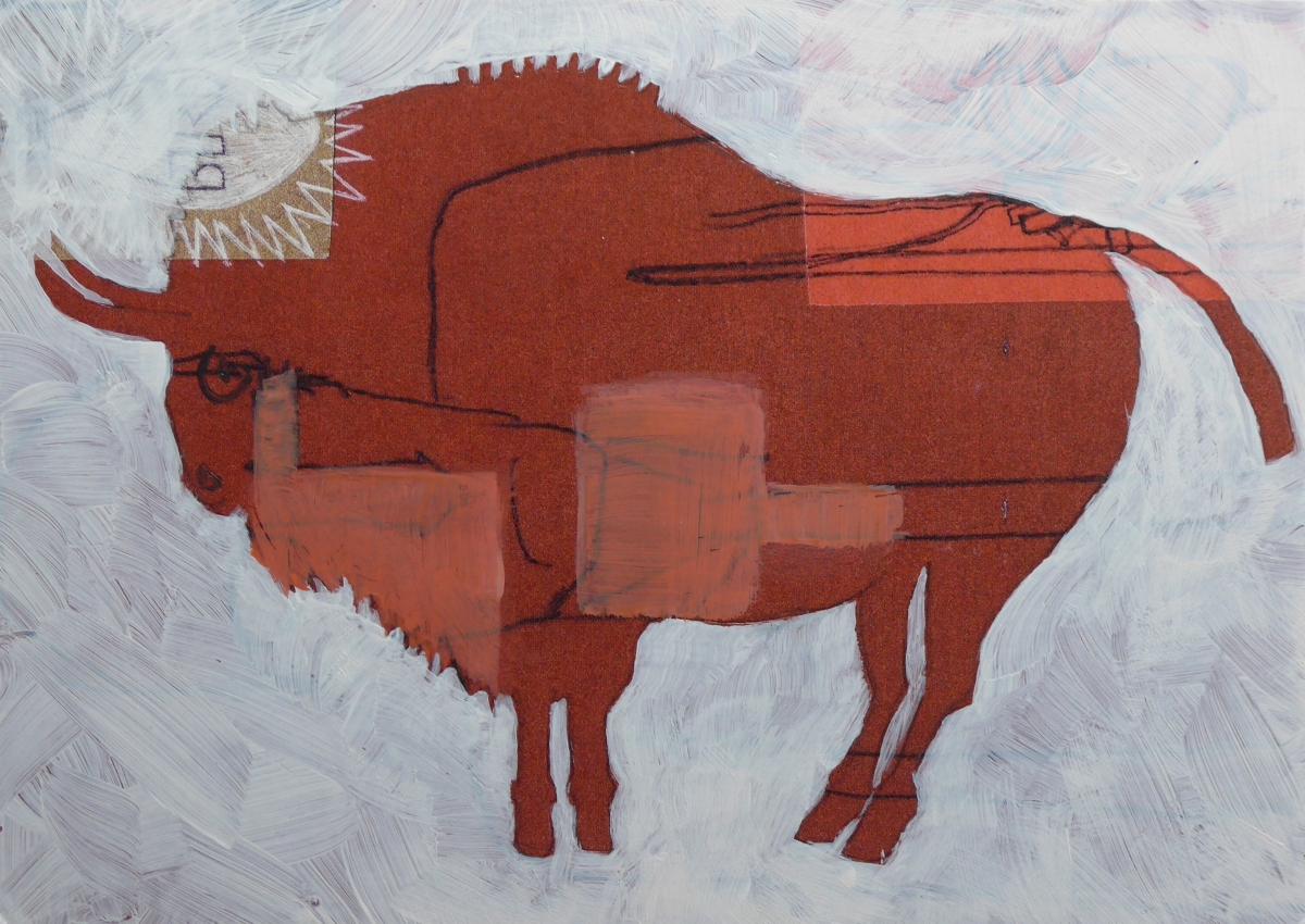 Bison Cave painting in profile with abstract detail by artist Diane Young