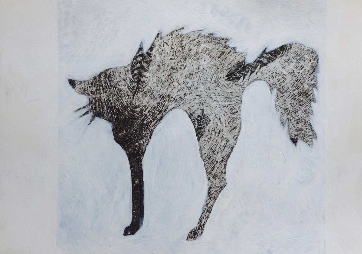 Cat painting in profile with abstract detail by artist Diane Young