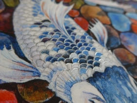 hoto showing silver added to print of koi fish by artist Diane Young