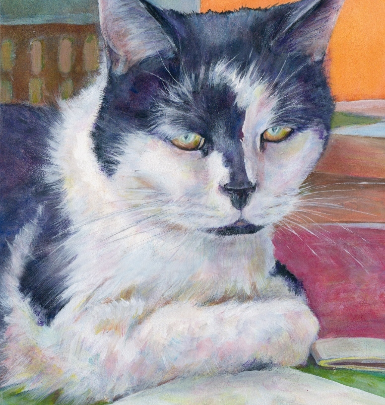 Painting of a pet cat Patch by Artist Diane Young