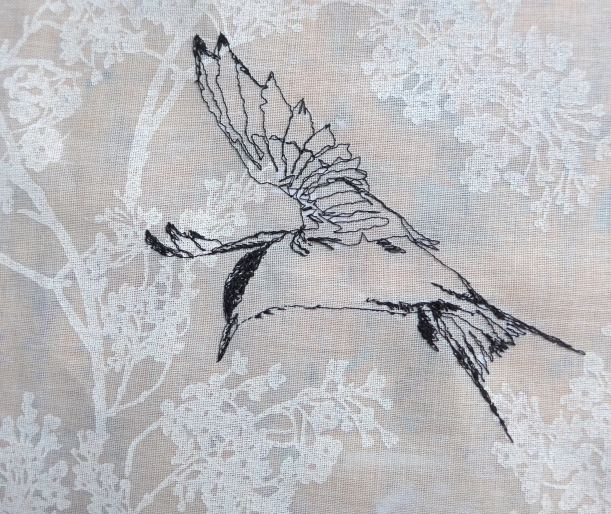 Tern bird drawn with a sewing machine by artist Diane Young