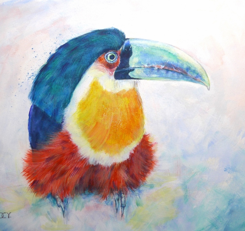 Painting of a brightly coloured Green Billed Toucan of Brazil by artist Diane Young