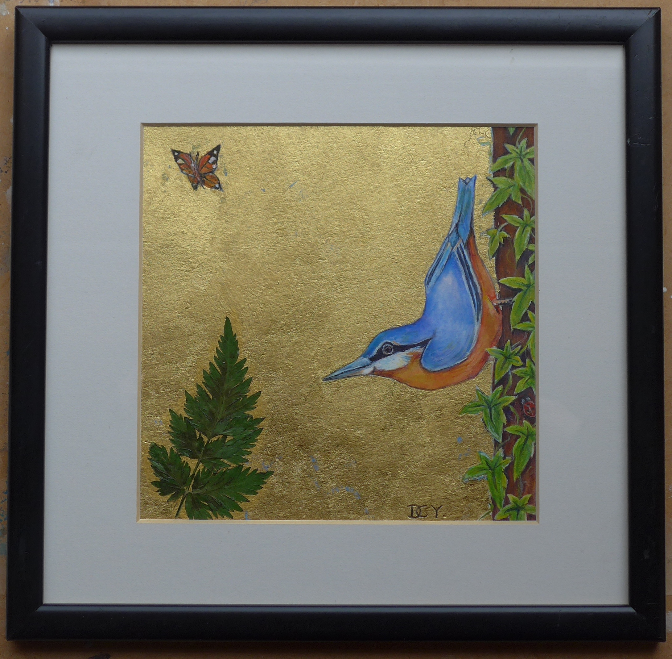 Nuthatch and butterfly painting with pressed leaf and gold leaf by artist Diane Young