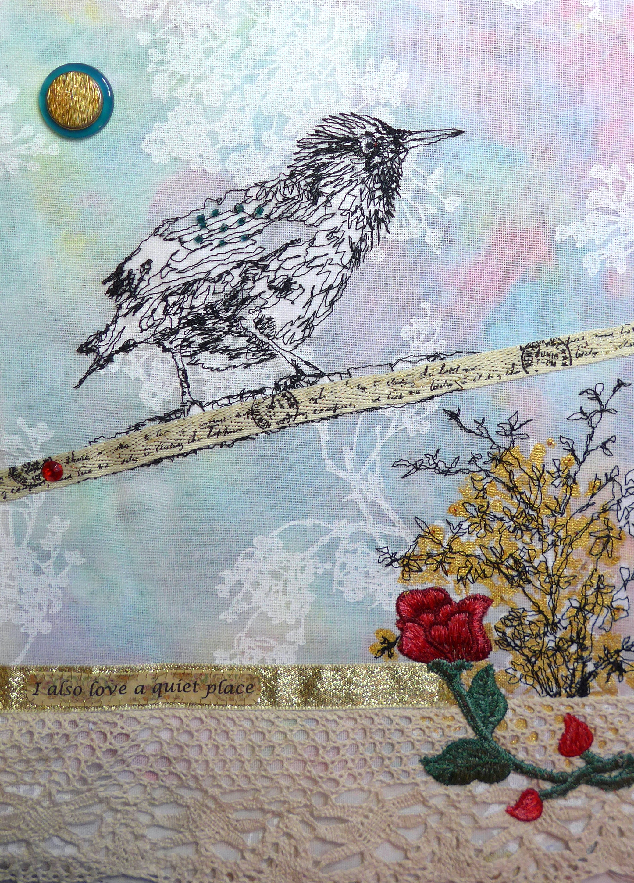 Freehand machine sewn starling drawing with collage materials by artist Diane Young
