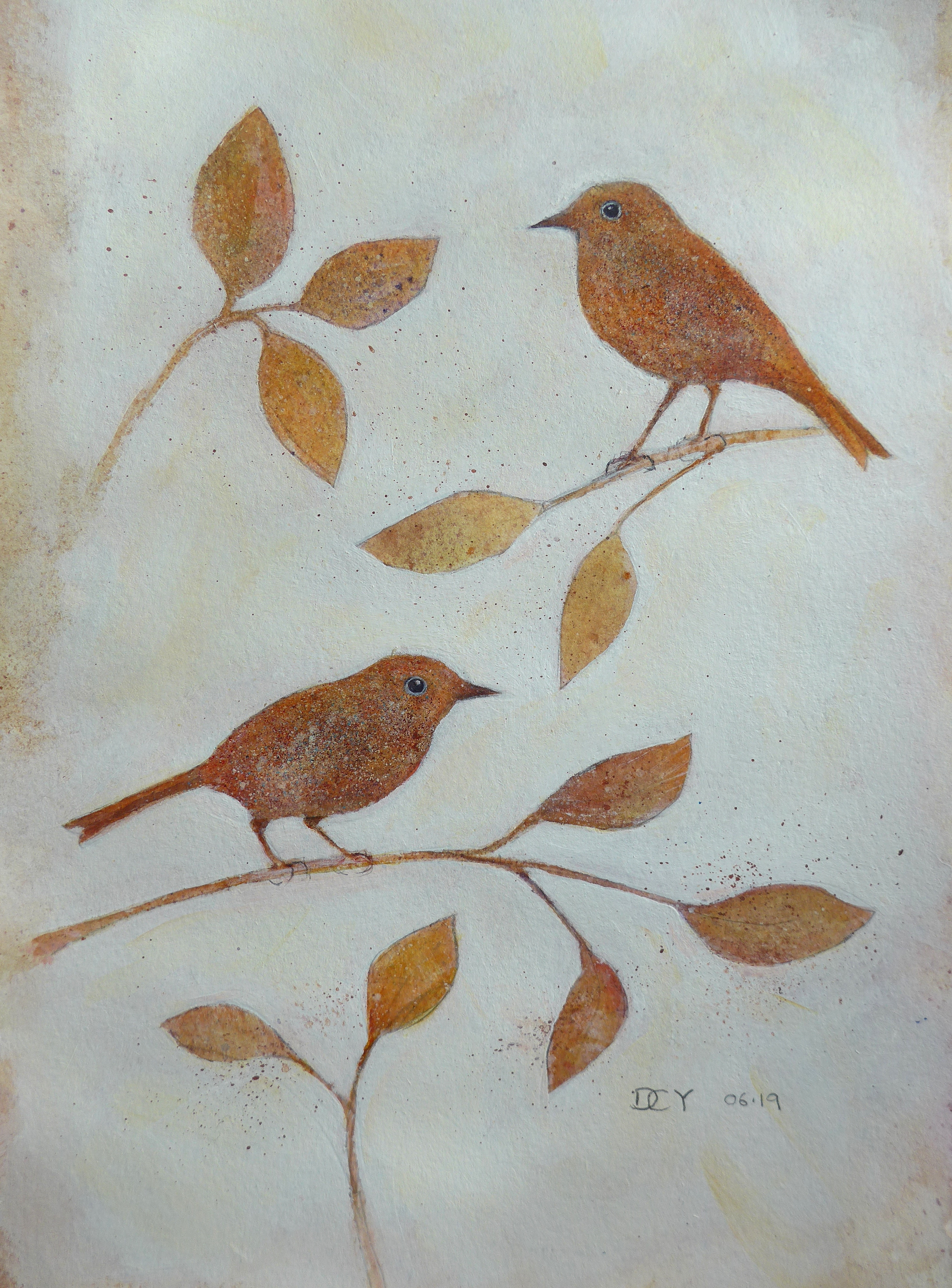 Painting showing spatter paint silhouettes of birds and flowers by artist Diane Young