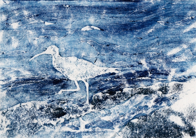 A print of a Silhouette of a curlew on beach by artist Diane Youn