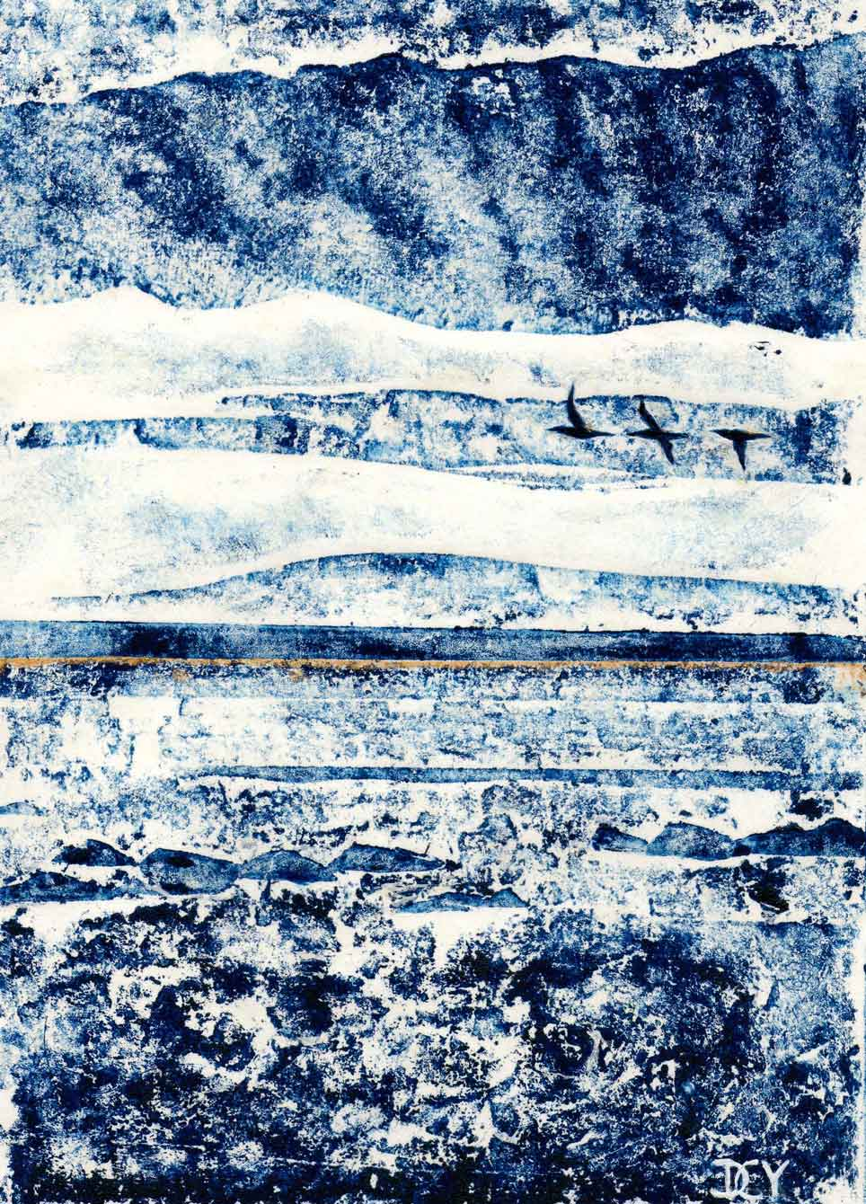 A collagraph monoprint of the sea with gannets flying by artist Diane Youn