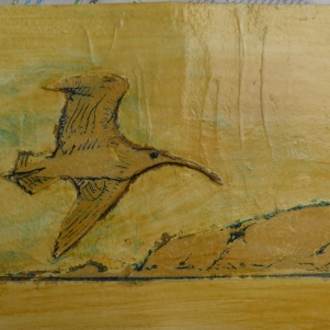 Collagraph printmakers plate showing curlew