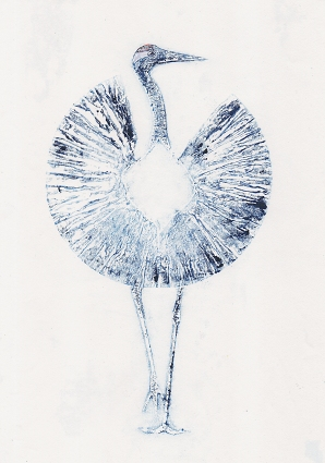 Print of a Crane Dancing Printmaker Collagraph monoprint artit Diane Young