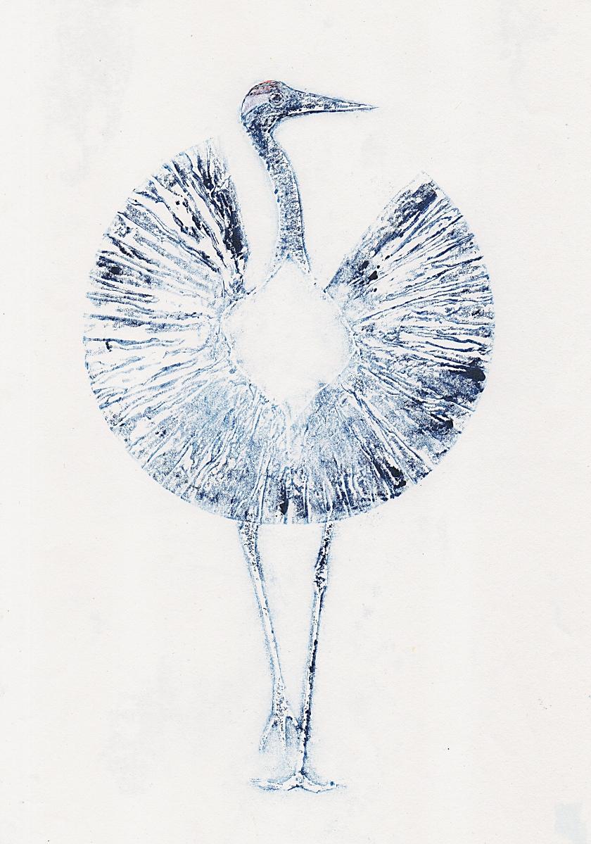 Print of a Crane Dancing Printmaker Collagraph monoprint artit Diane Young