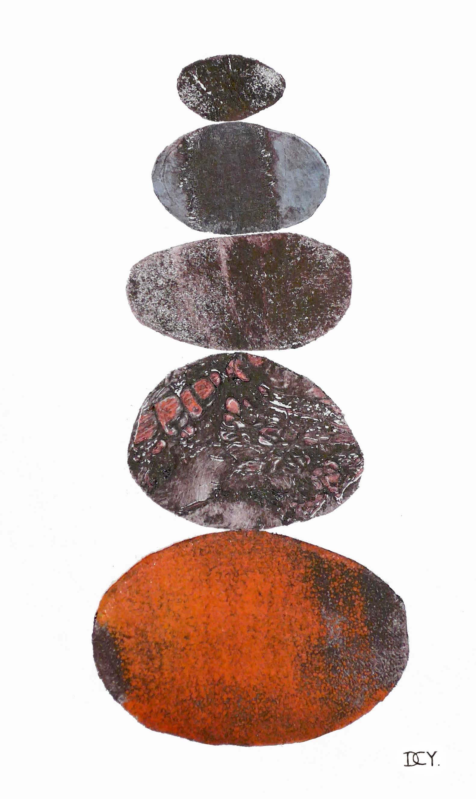 A stack of pebbles abstract in style Collagraph Printmaking by artist Diane Young