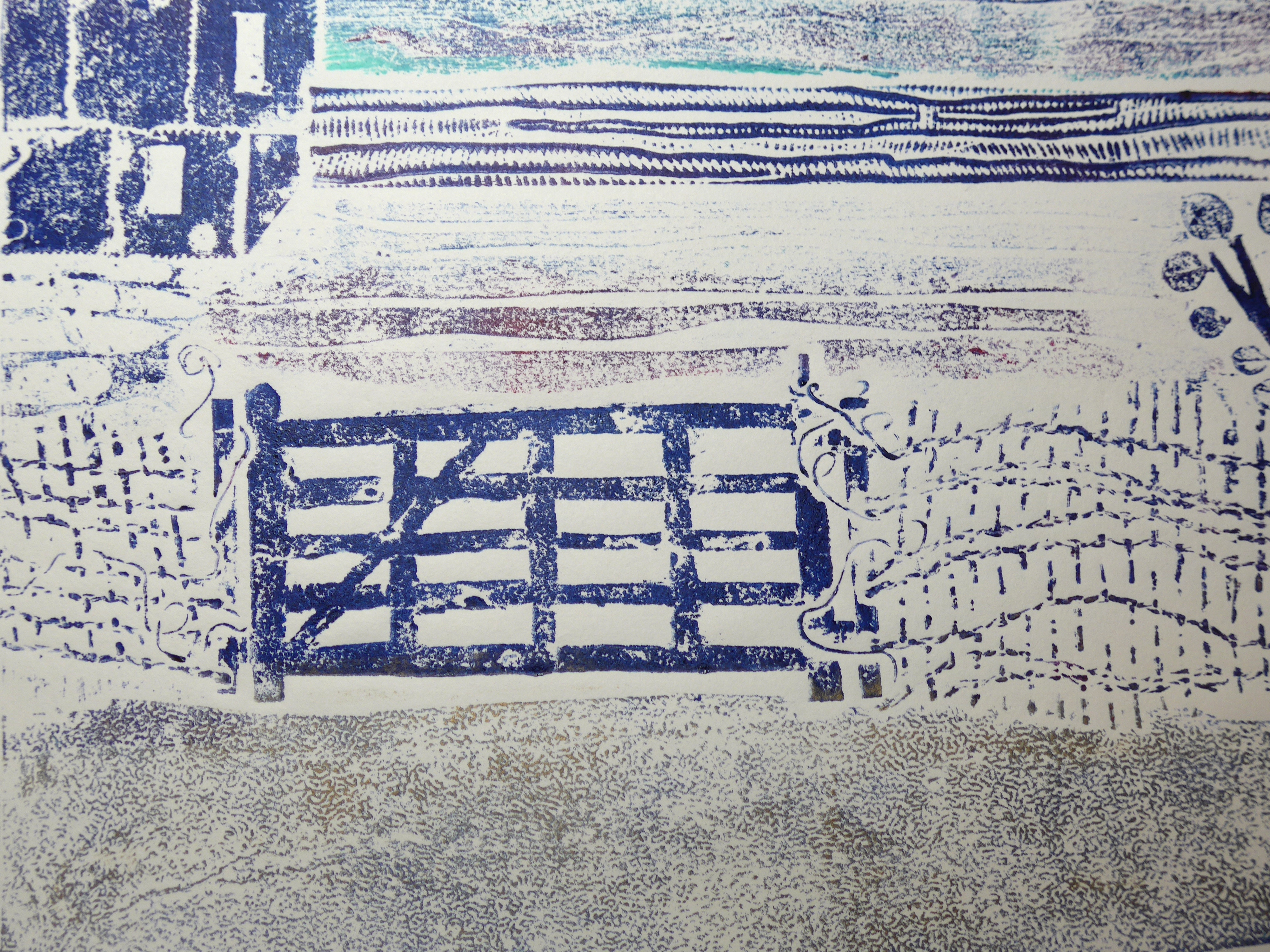 Collagraph by printmaker artist Diane Young showing a five bar gate and textures7