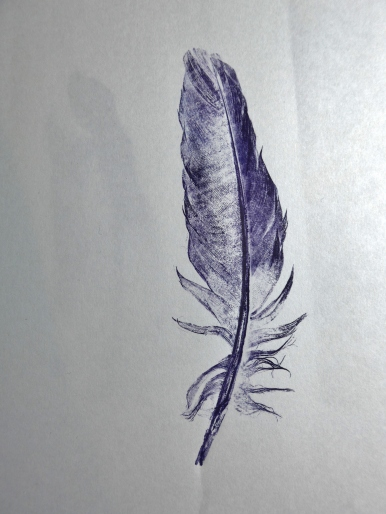 Print of a feather by printmaker collagraph artist Diane Young