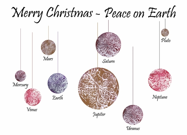 Planetary Christmas Card created with collagraphy printmaking by artist Diane Young at Stroud