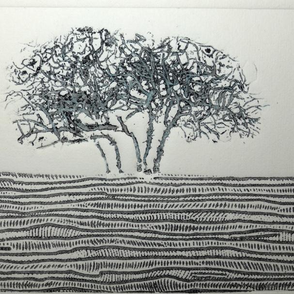 Collagraph print by artist printmaker Diane Young of Stroud tree on minchinhampton common near Tom Longs post