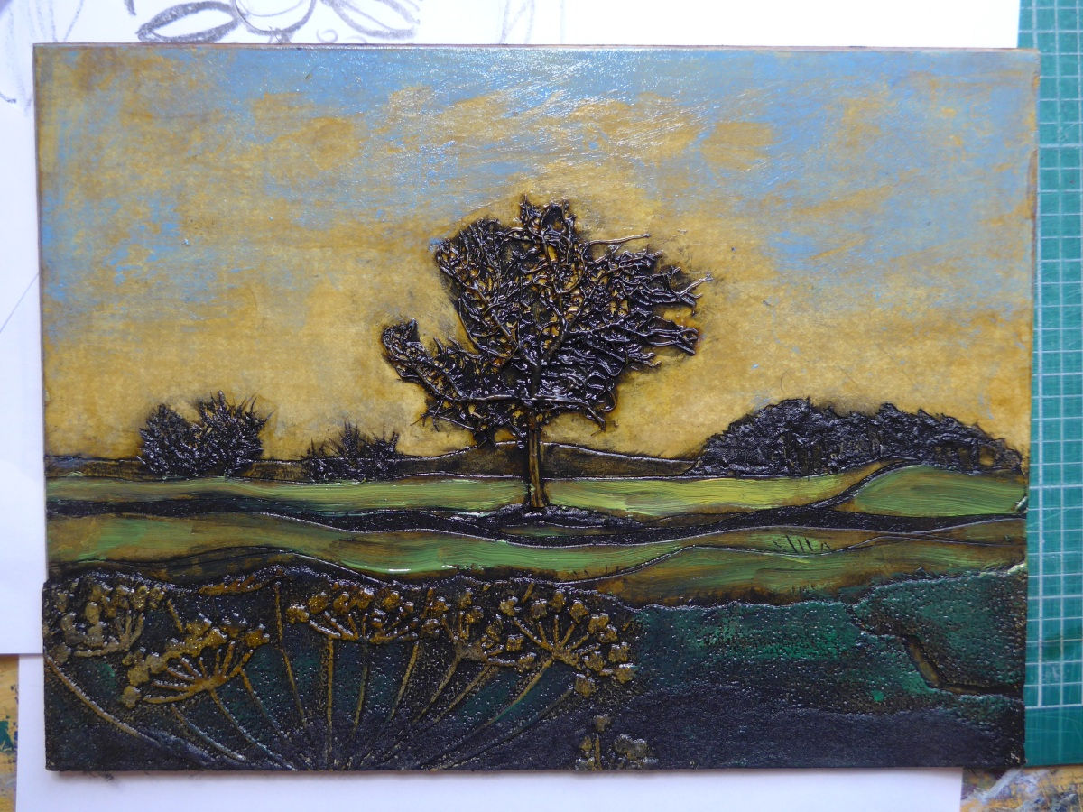 Printmaking collagraph plate of a tree on rodborough common by diane young artist printmaker of stroud
