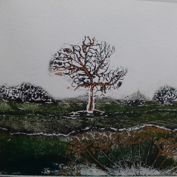 Collagraph print by artist printmaker Diane Young of Stroud showing a tree on Roborough Common
