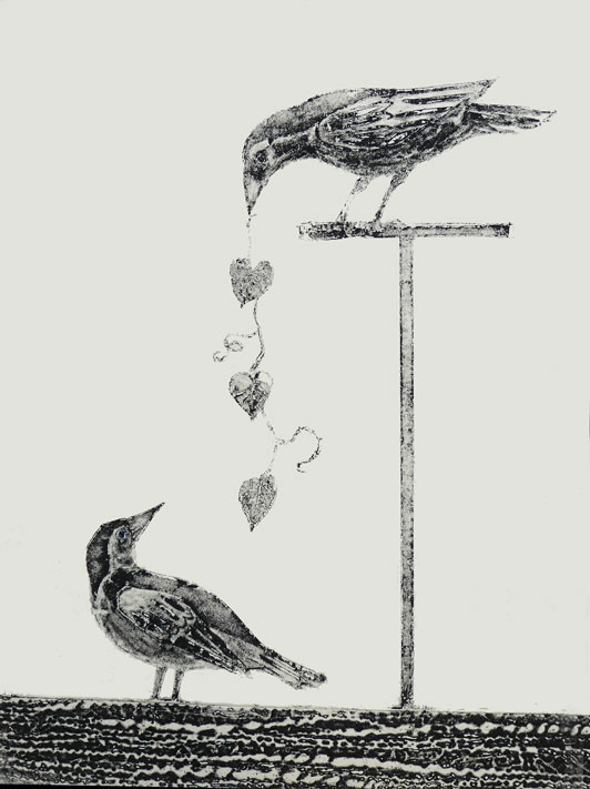 image of two crows one offering the other heart shaped bindweed by artist printmaker Diane Young of Stroud
