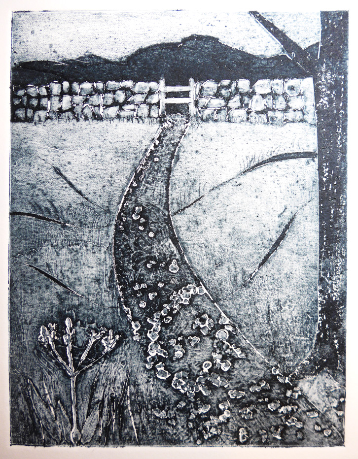 Collagraph print of a mountain scene using eggshells by artist printmaker Diane Young
