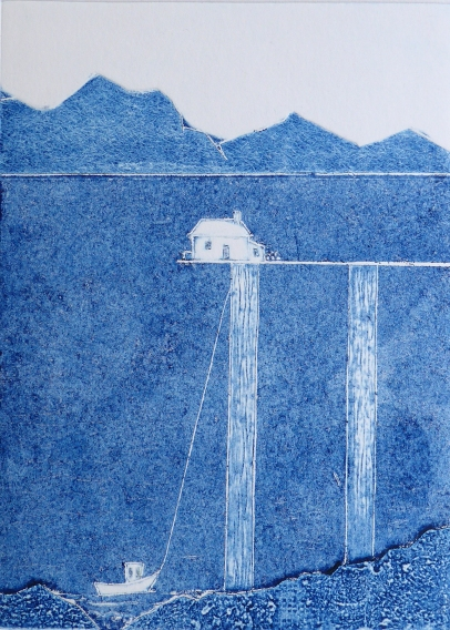 Collagraph original print of a lone cottage in the scottish highlands