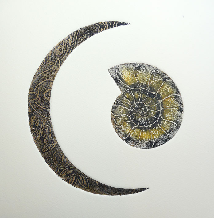 Collagraph print of a textured moon shape and an ammonite fossil.