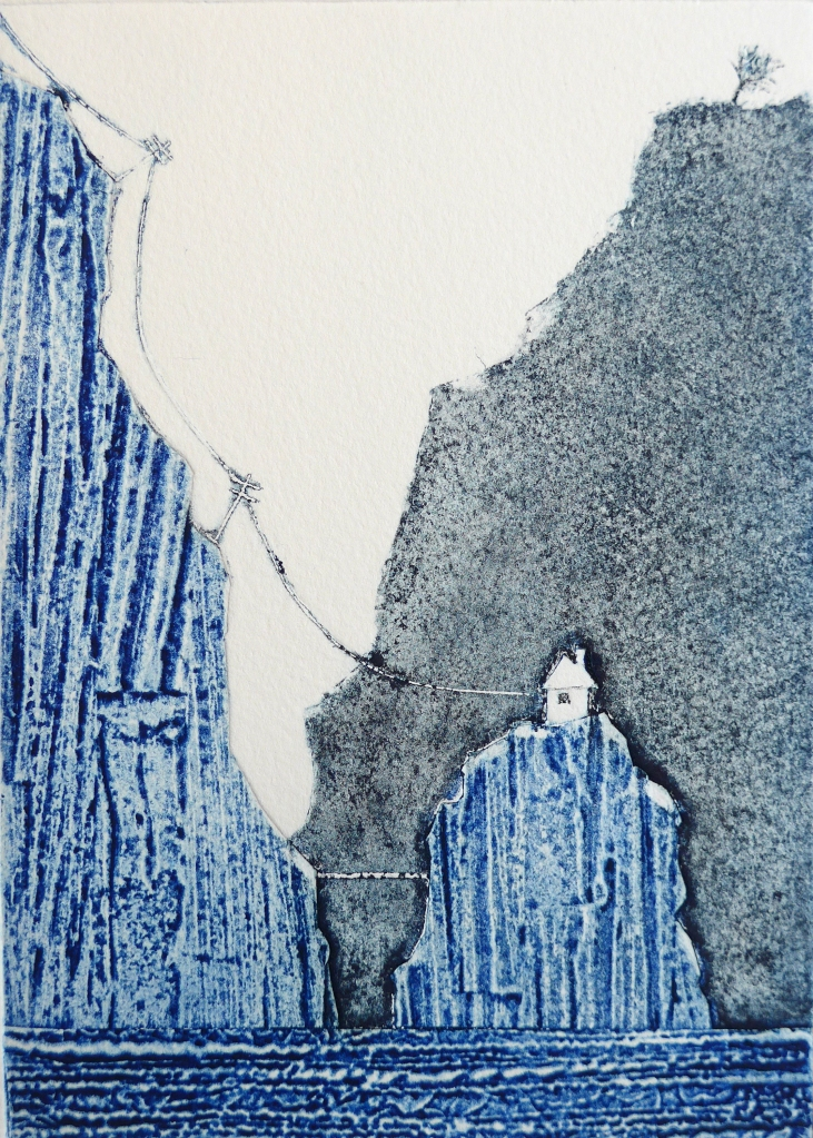 Collagraph print of a remote house on a cliff by artist printmaker diane young stroud