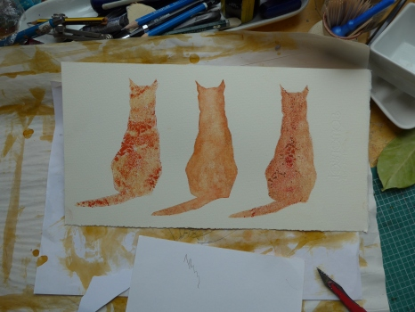 Photo of textures tested in the form of cats by artist printmaker diane Young stroud