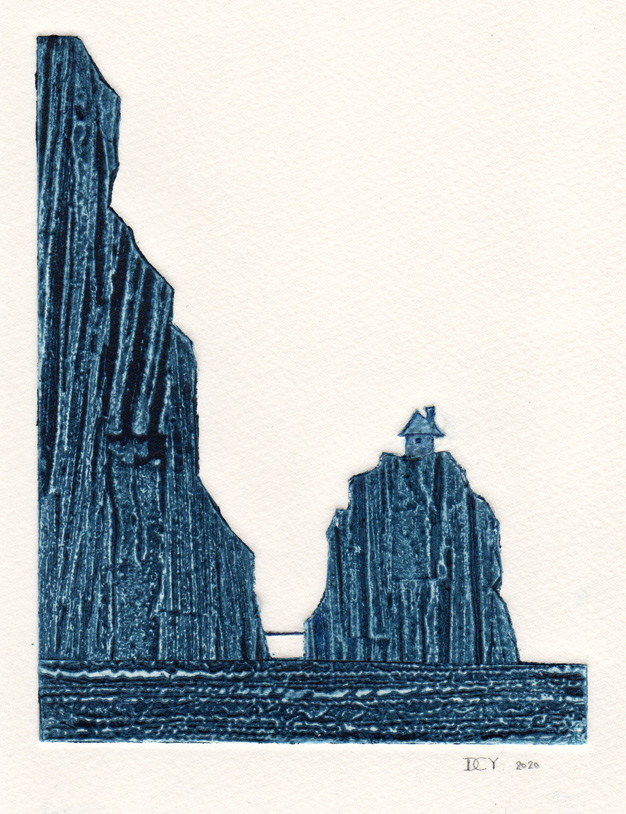 Original hand pulled collagraph print of a house on a scottish mountain by artist printmaker diane young of stroud