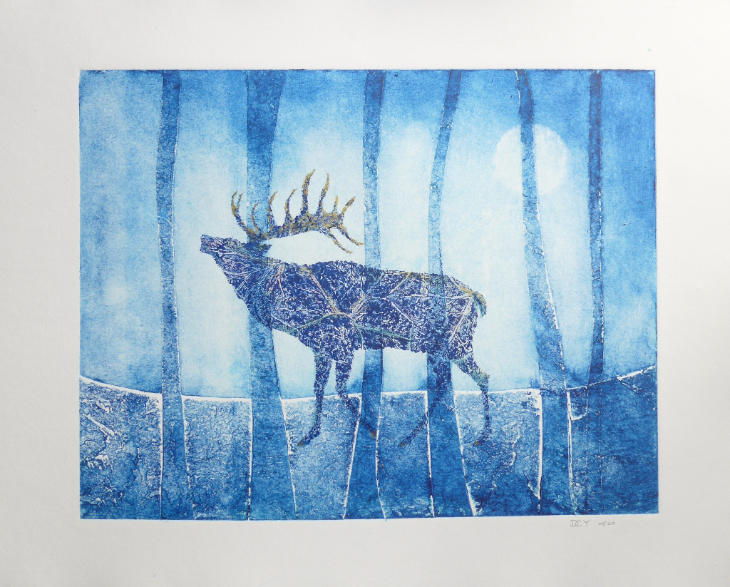 Collagraph hand pulled original print of rutting stag by artist printmaker diane Young from stroud