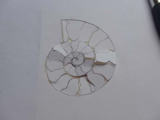Small fossil Drawing Ready to make a collagraph plate