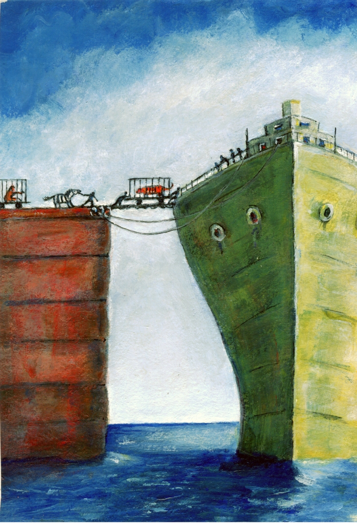 painting of cargo loading interpreted from the book Life of Pi in a painterly style by artist Diane Young